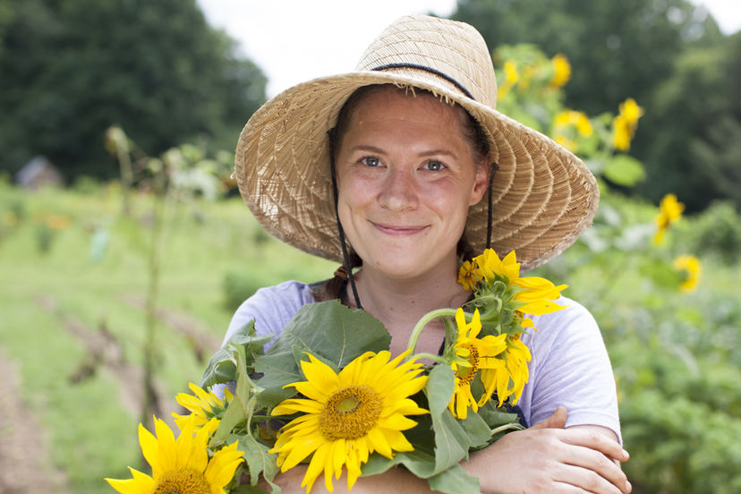 Rachel with sunflowers
