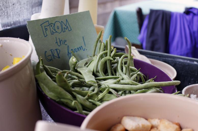 Fresh beans on the salad bar