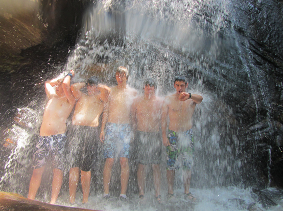 TBXers under waterfall