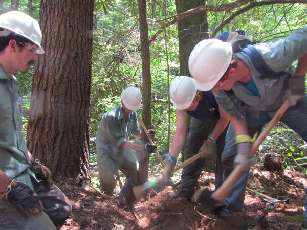 Trailblazers constructing a trail