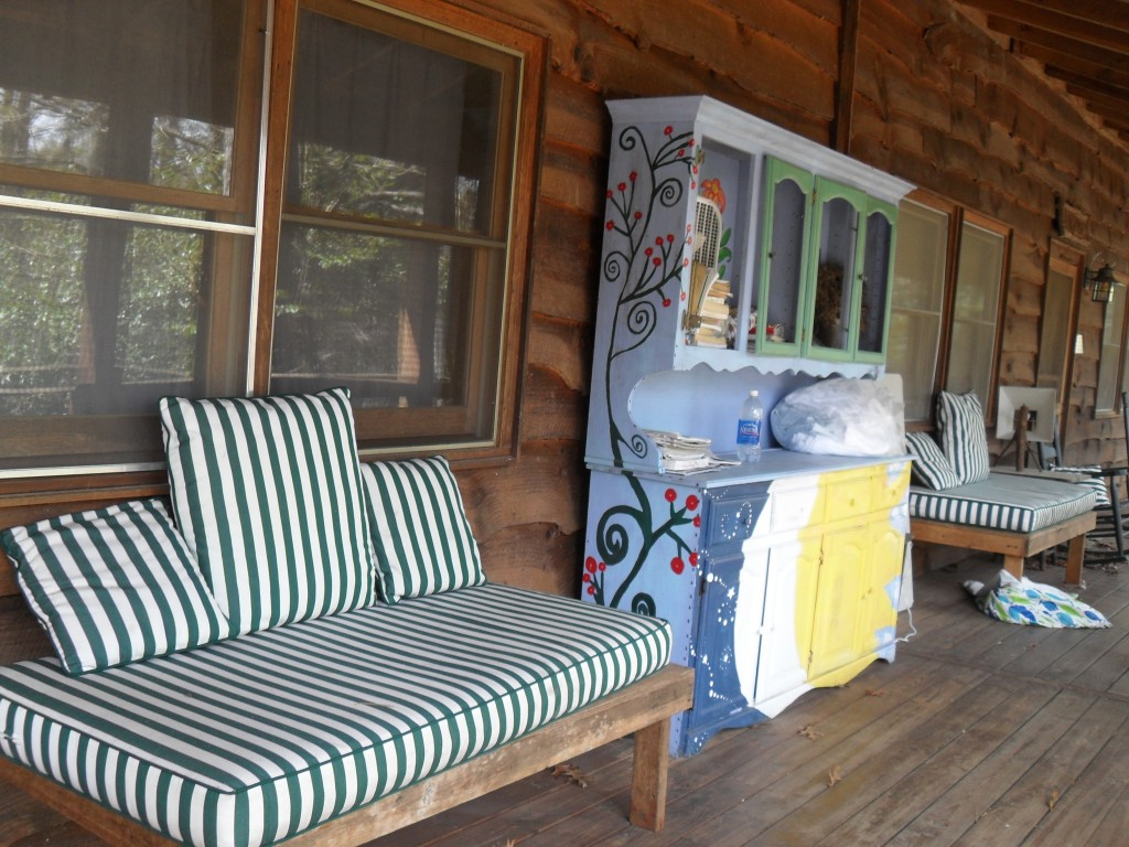 Day beds on the porch encourage healing from the fresh mountain air.