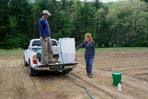 Catrina and Phil managing our ingenious fertilizer delivery system